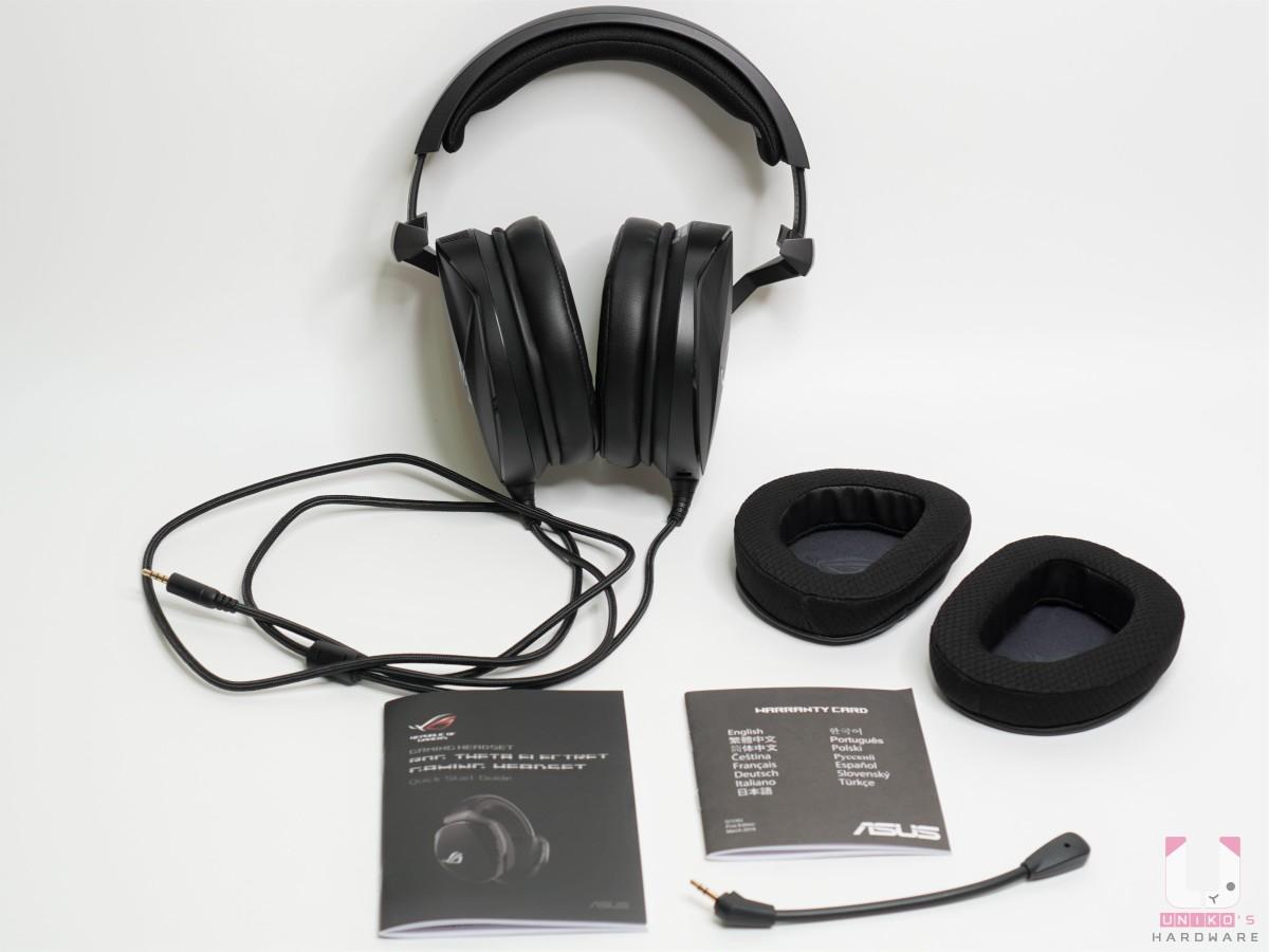 配件:耳機本體、ROG Hybrid 耳罩、麥克風、說明書保卡,另外有一條 3.5mm 音效 / 麥克風分離線。