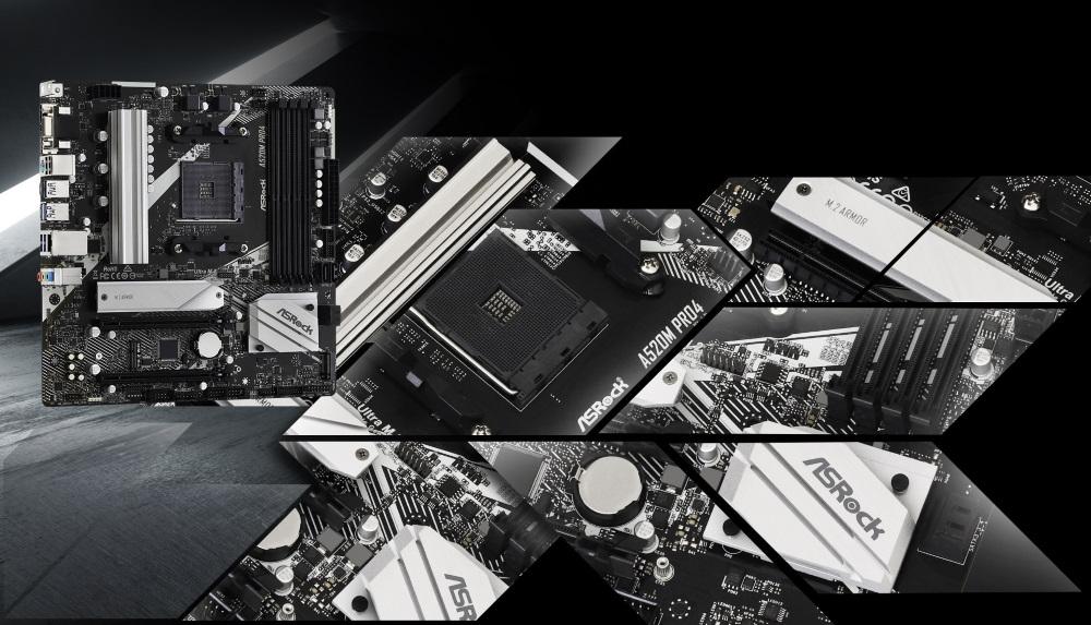 華擎的 A520 系列提供各種選擇,包括從 mini-ITX 到全尺寸 4 DIMM mATX 的各種產品。