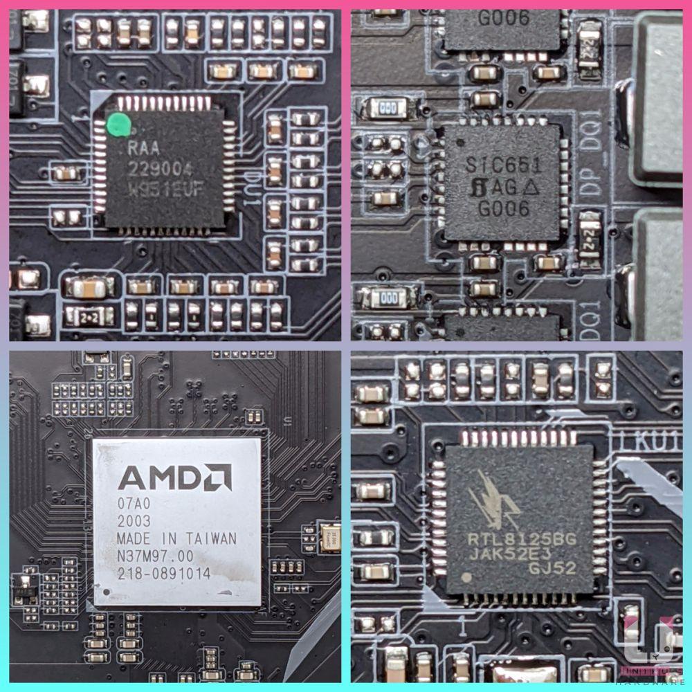 PWM 數位主控 Renesas RAA 229004 (6+2)、MOSFET 是 Vishay SiC651C 50A、AMD B550 晶片組、Realtek 2.5GbE 網路晶片。
