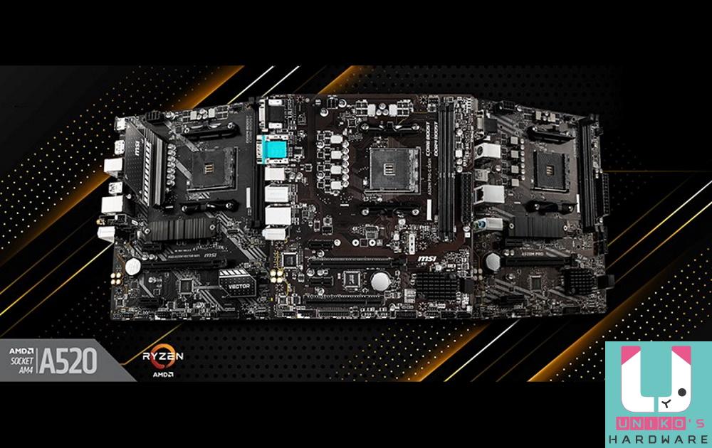 MSI 微星正式推出 A520 主機板系列產品