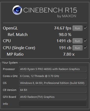 CINEBENCH R15,單核心 191 cb,多核心 1491 cb,MP Ratio 7.80 x,OpenGL 74.67 fps。
