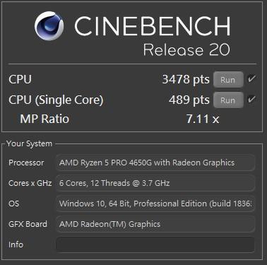 CINEBENCH R20,單核心 489 pts,多核心 3478 pts,MP Ratio 7.11 x。