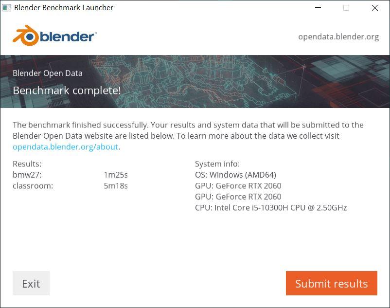 Blender Benchmark 跑分。