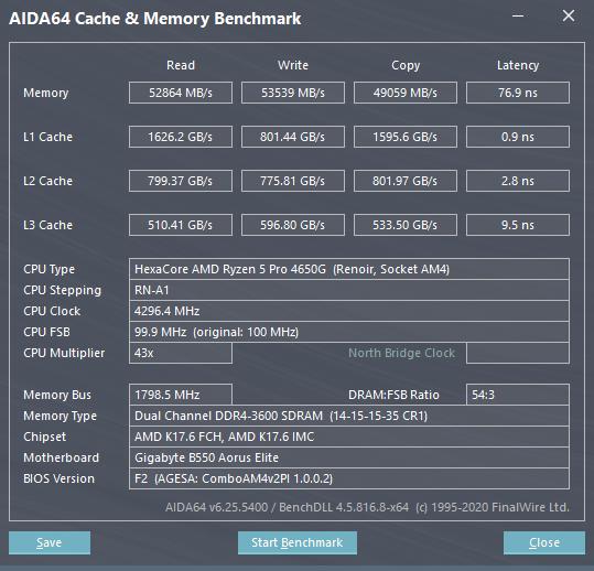 AIDA64 記憶體和處理器快取跑分。