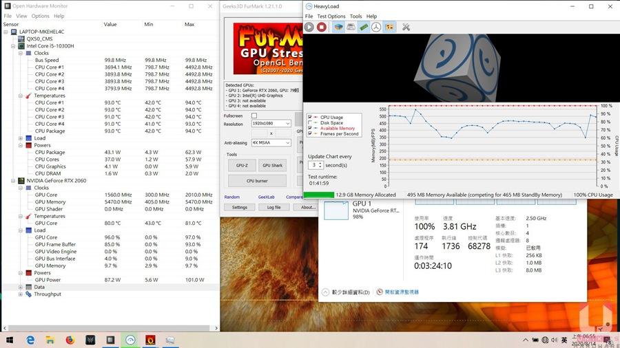 CPU + GPU 同時燒機。