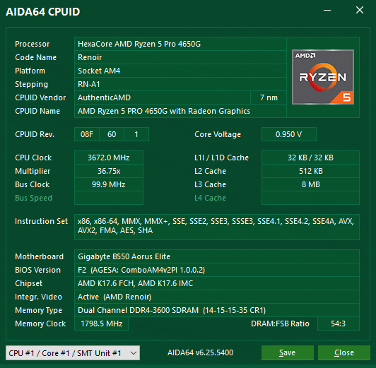AIDA64 CPUID 資訊。