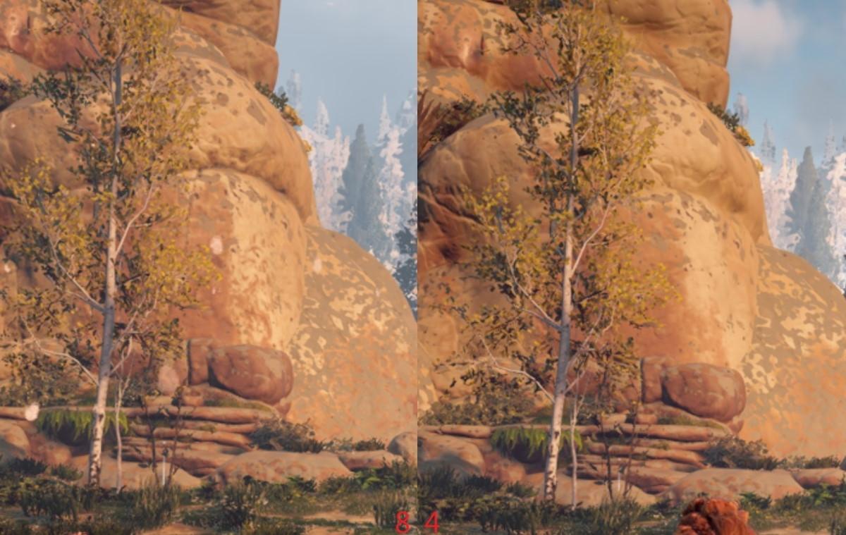 地平線:期待黎明在相同設定上可以明顯看出畫面材質上的差異。