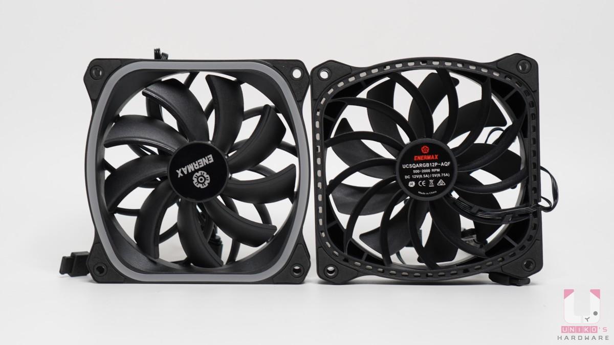 ENERMAX SquA RGB 星彩蝠風扇,尺寸 120 x 120 x 26 mm,風扇轉速 (RPM) 500-2000 rpm,風扇風量 (CFM)39~79.8 CFM,風扇風壓 (MM-H2O) 0.67~3.6 mm-H2O,風扇噪音值 (DBA) 17~36.2 dBA ,風扇 MTTF (小時) ≧ 100,000 hr,連接線材有 4Pin 和 ARGB 3Pin。