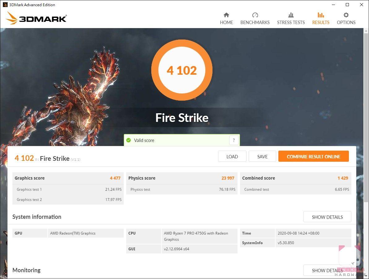 R7 Pro 4750G,3DMARK Fire Strike 4102。