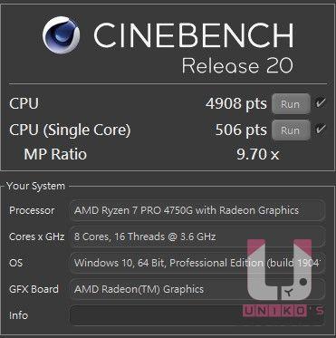 R7 Pro 4750G CINEBENCH R20,單核心 506 pts,多核心 4908 pts,MP Ratio 7.11 x。