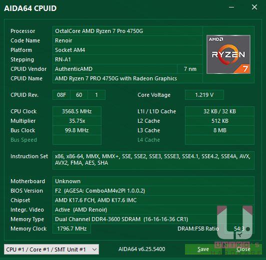 AIDA64 CPU 資訊,R7 Pro 4750G。