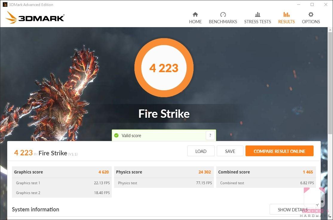 R7 Pro 4750G,3DMARK Fire Strike 4223。