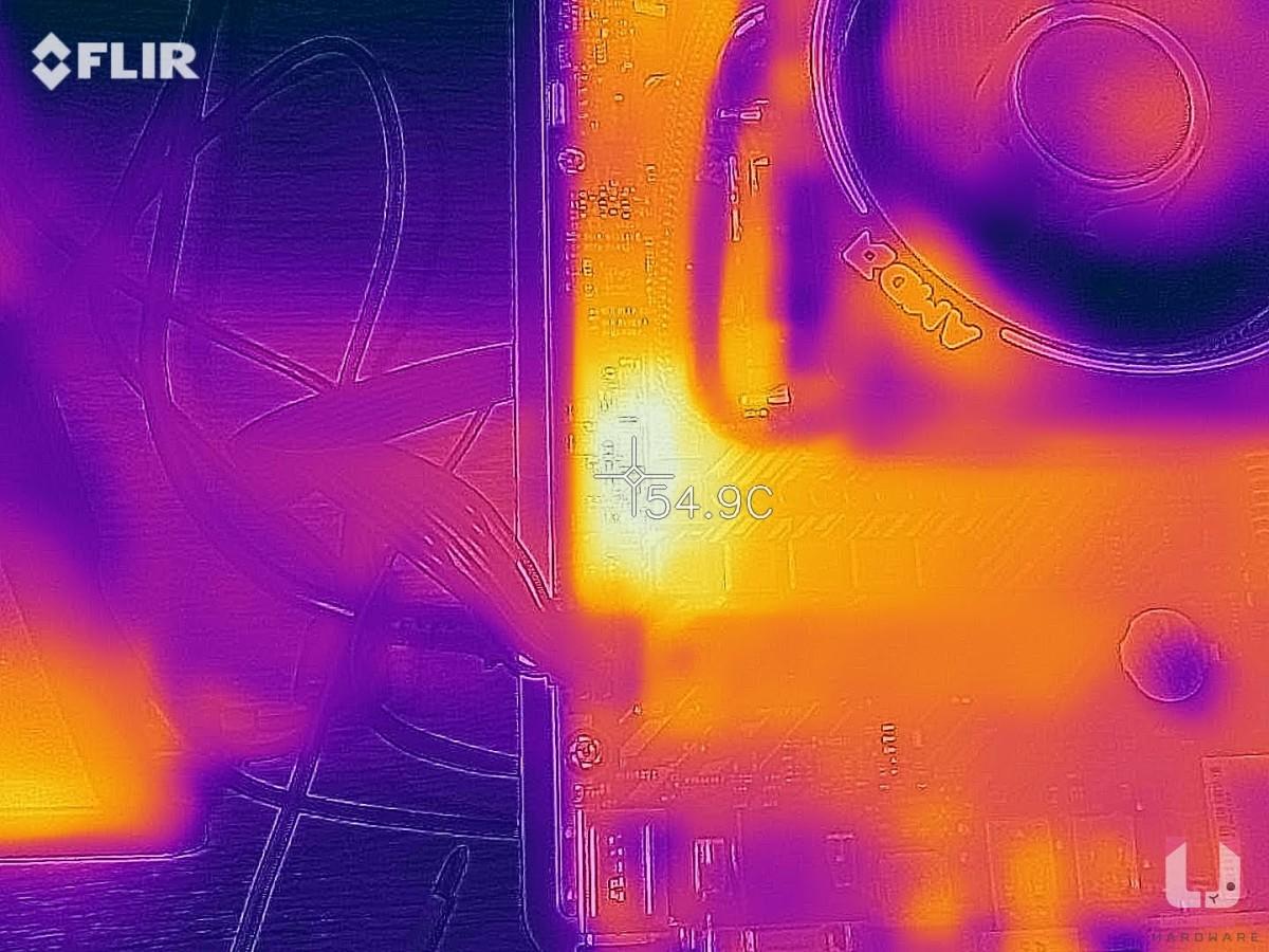 3DMARK Time Spy 穩定性燒機,燒機 60+ 分鐘測試,SOC VRM 散熱器區域溫度約 54.9 度。