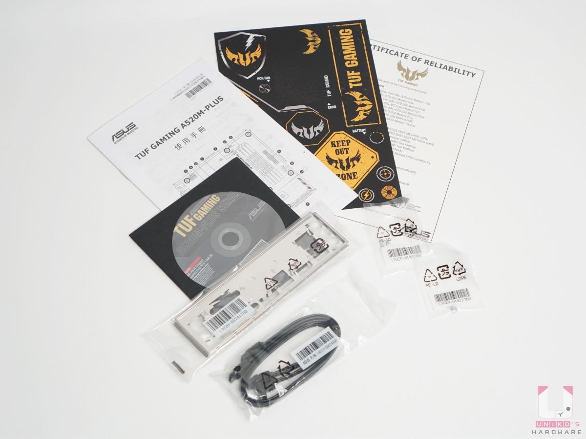 配件很簡單,SATA 線材、I/O 擋板、驅動光碟、說明書、貼紙、TUF 認證書、M.2 螺絲。