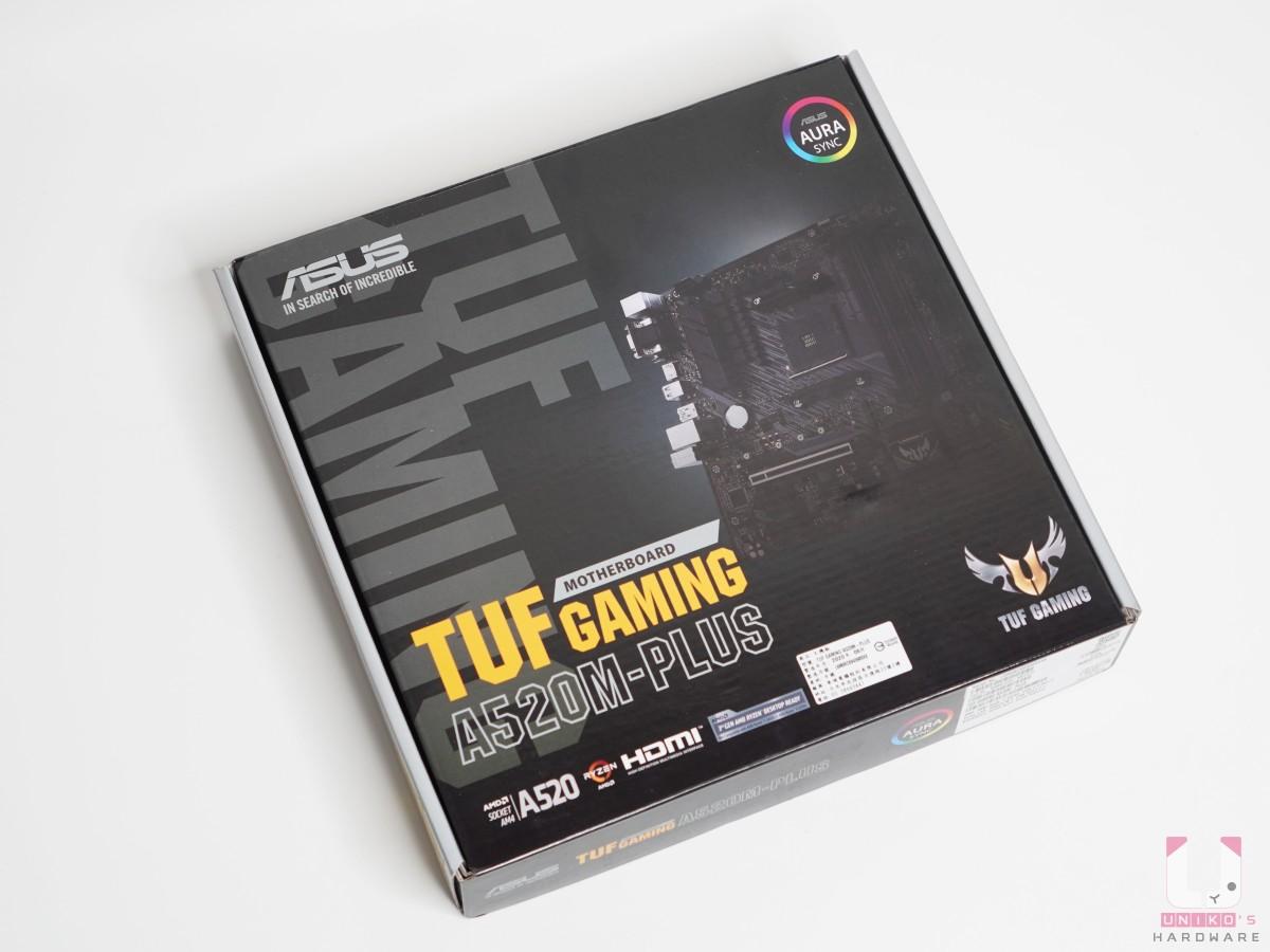 正面包裝可以看到 TUF GAMING 標誌,入門板還是支援 AURA SYNC 燈光控制。