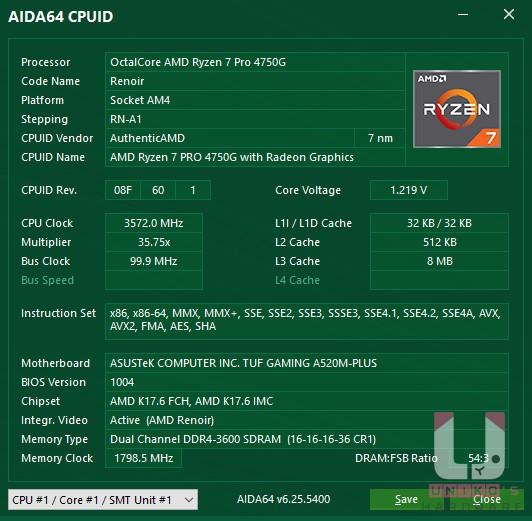 AIDA64 CPU 的說明。