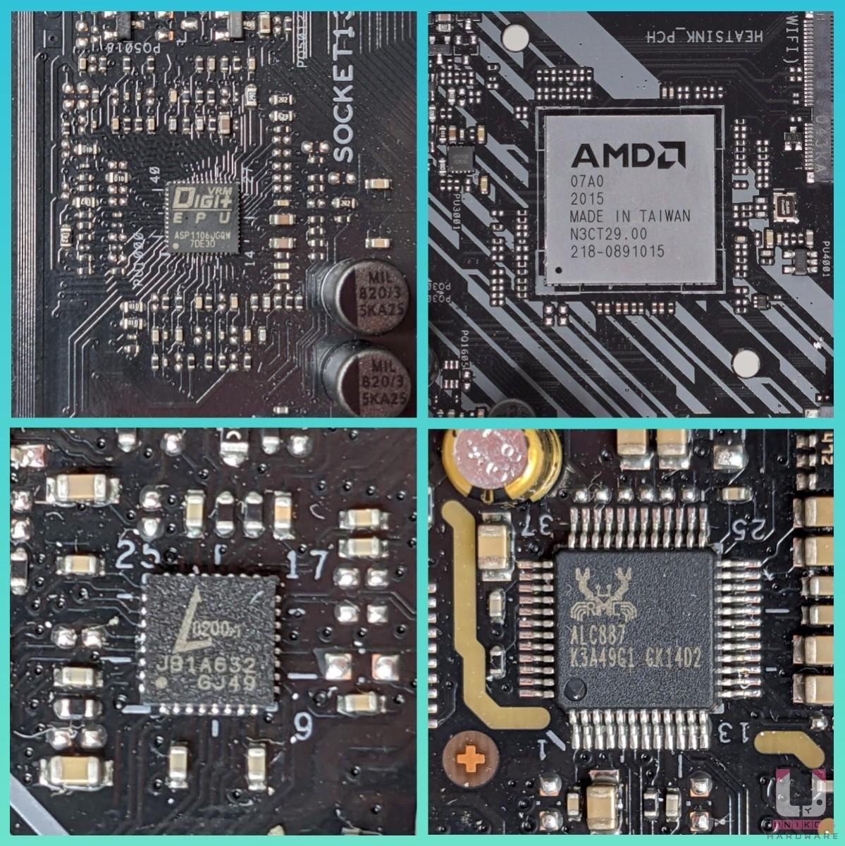 Digi+ EPU ASP1106GGQW (X +Y = 6) PWM 控制器、AMD A520 晶片組、Realtek L8200A 1Gb、Realtek ALC887。
