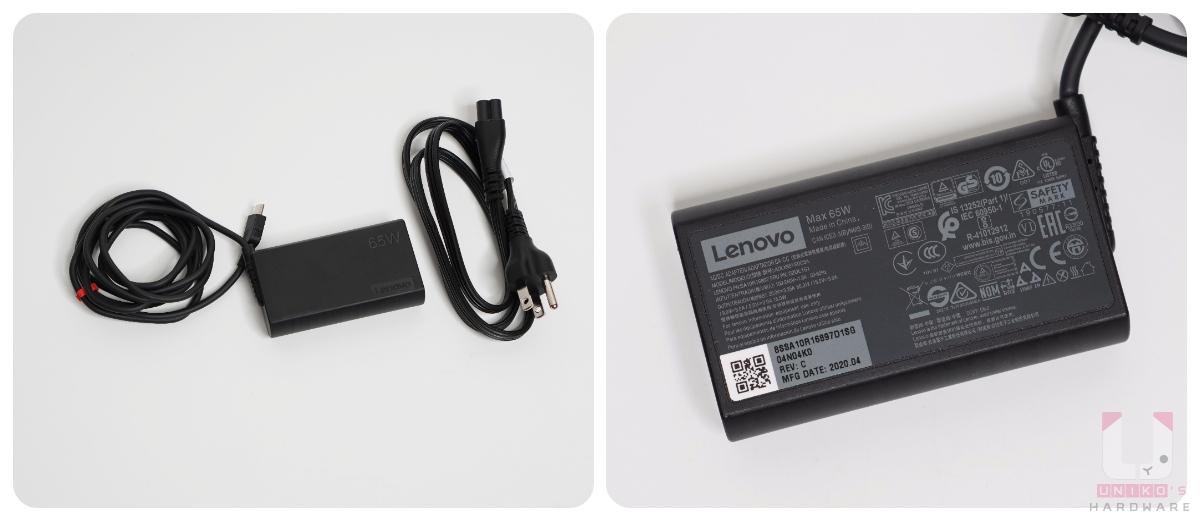 使用 Type-C 接口的 65W AC變壓器,支援 PD 和一小時快充到 80% 電量。