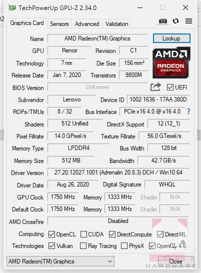 GPU-Z 的 APU 內顯資料,記憶體 LPDDR4 512MB。