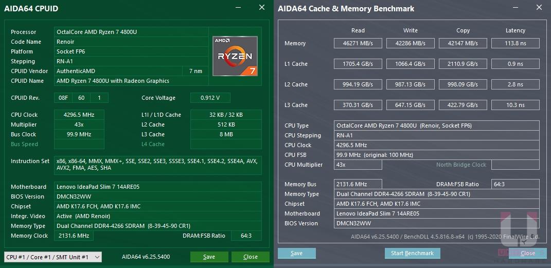 CPU-Z R7 4800U 資訊,LPDDR4X 4266MHz 雙通道記憶體性能測試。
