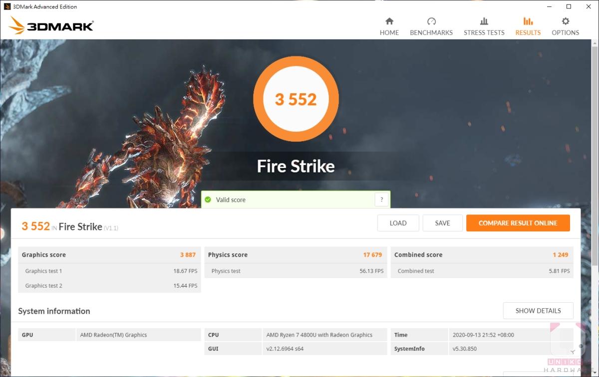 R7 4800U,3DMARK Fire Strike 3552。