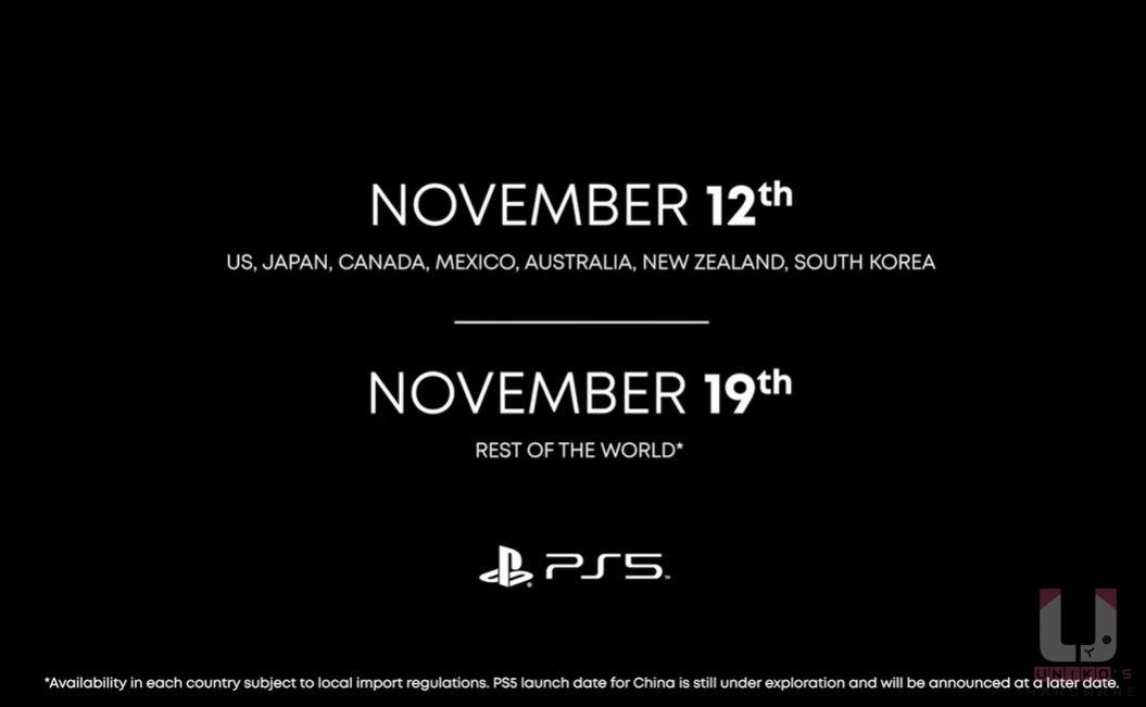 發售日 2020.11.12 是首發國家,名單有美國、日本、加拿大、墨西哥、澳洲、紐西蘭、南韓,全球發售日是 2020.11.19