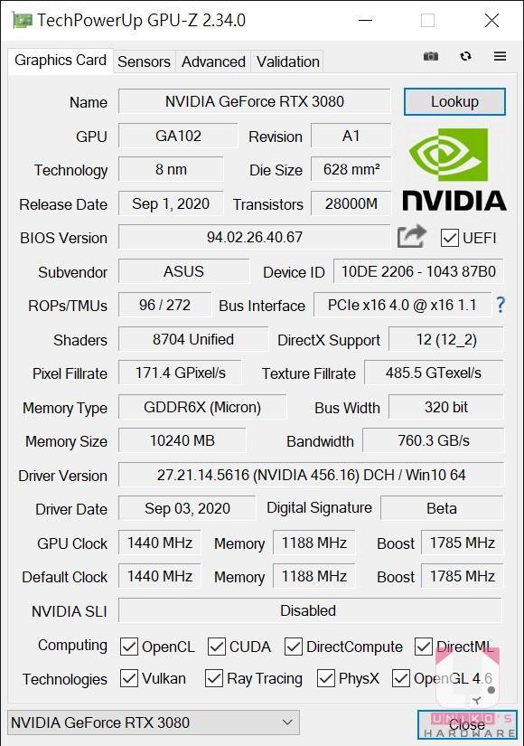 ASUS TUF RTX3080 O10G GAMING 的 GPU-Z 資料。