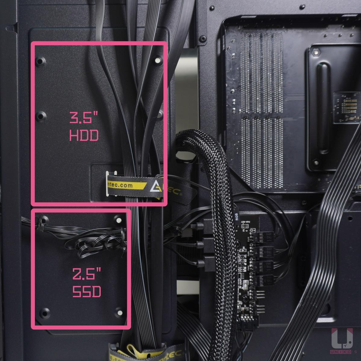 """側面可以安裝 3.5"""" HDD x 1、2.5"""" SSD x 1,這些都沒有快拆設計。"""