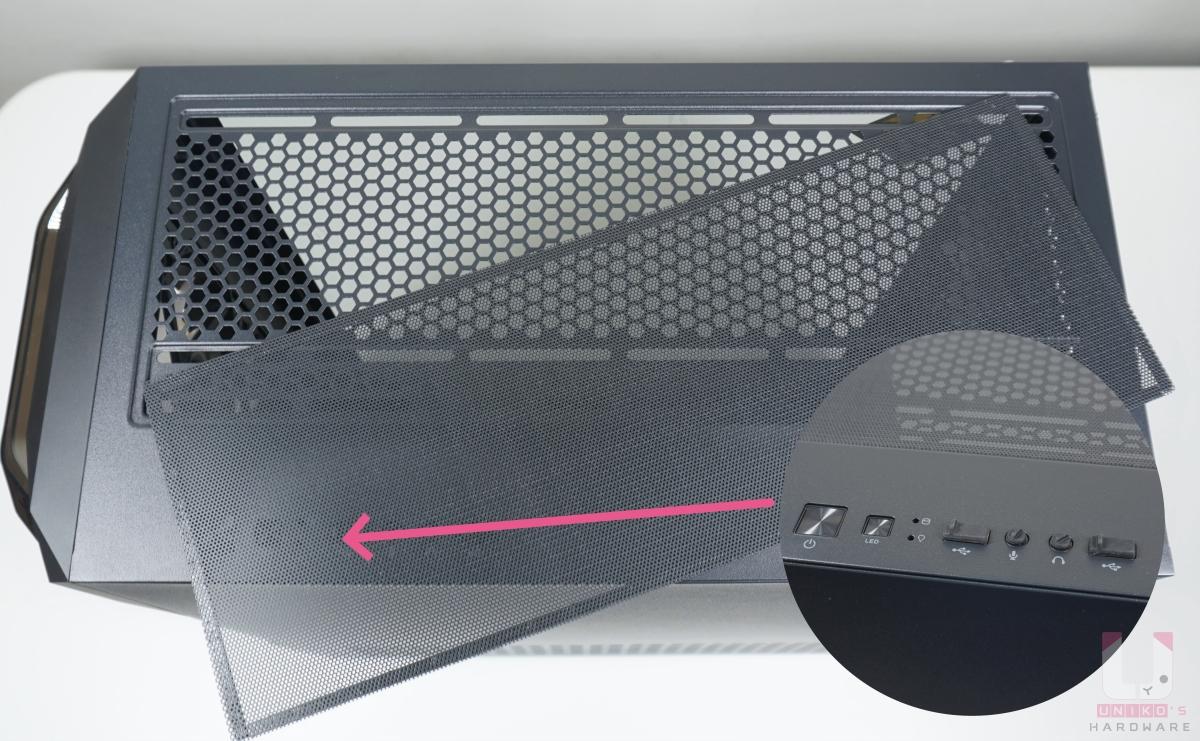 機殼上方有可清潔磁吸濾網,另外前置電源開關、LED 開關、指示燈 x2、USB 3.0 Type A 連接埠 x2、3.5mm 耳機及麥克風接口。