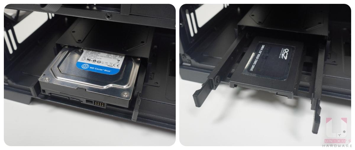 """PSU 旁邊的 3.5"""" HDD 硬碟架,最多可以安裝兩顆 HDD 或兩顆 SSD,也可以各一顆。"""