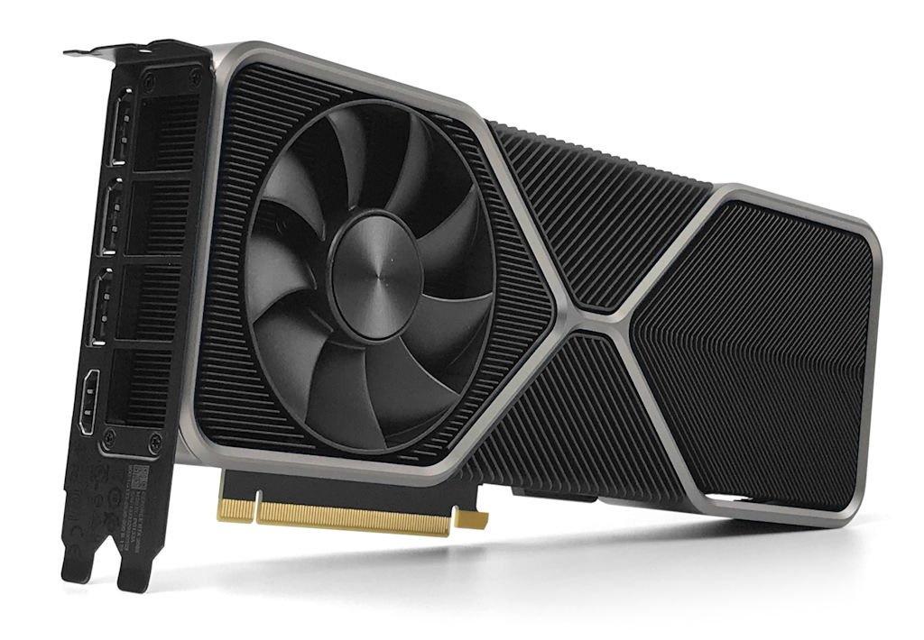 GeForce RTX 3080 創始版顯示卡微側面。