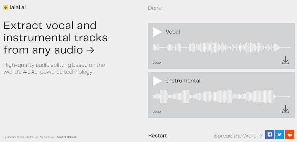 完成後,右上角會顯示 Done,Vocal 的區塊表示人聲,Instrumental 為背景音樂,可撥放試聽效果,滿意的話也可以點選項下載圖示把音訊檔下載下來。