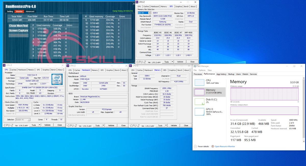 Intel Core i5-10600K 搭配 Z490 AQUA 主機板燒機測試截圖。