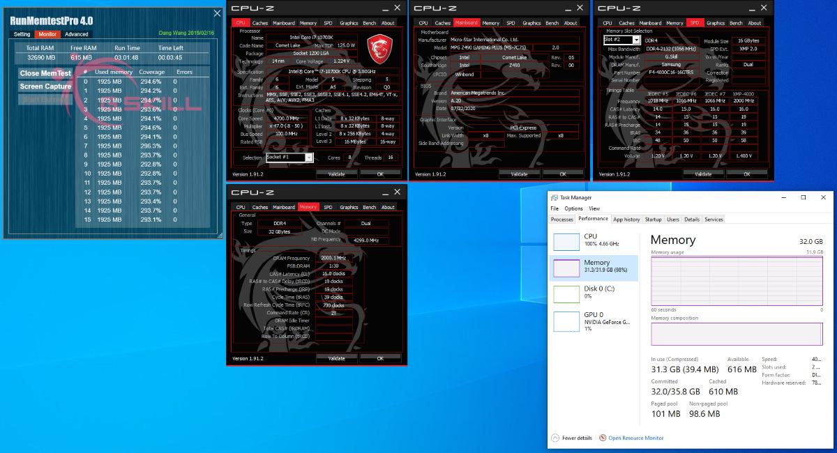 Intel Core i7-10700K 搭配 MSI MPG Z490 GAMING PLUS 主機板燒機測試截圖。
