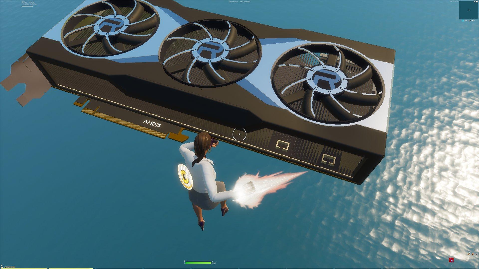 Radeon RX 6000 在 Fortnite 要塞英雄,來源:Twitter @NateOrb。