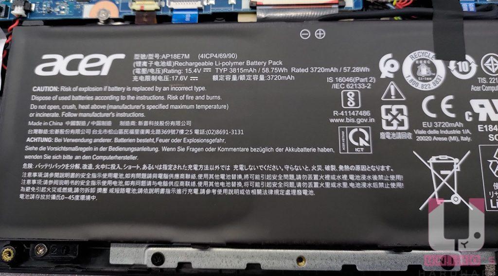 電池額定容量 3720mAh。