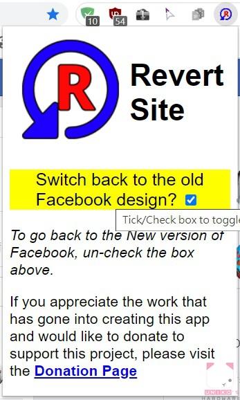 預設會自動開啟 Facebook 經典版界面,如果需要關閉,可以按一下 Revert Site 圖示,取消勾選黃色區域內的小框。