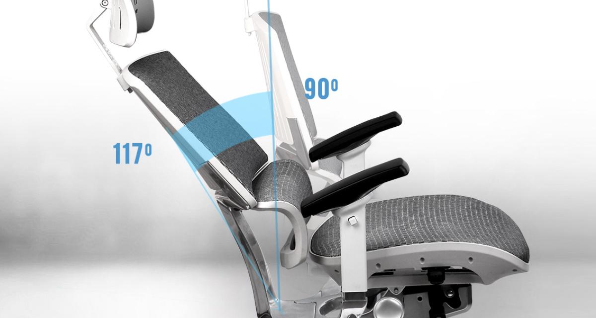 椅背可從 90 度往後延展至 117 度,使用者可隨時調整到符合您覺得最放鬆的角度,充分享受高度舒適性。