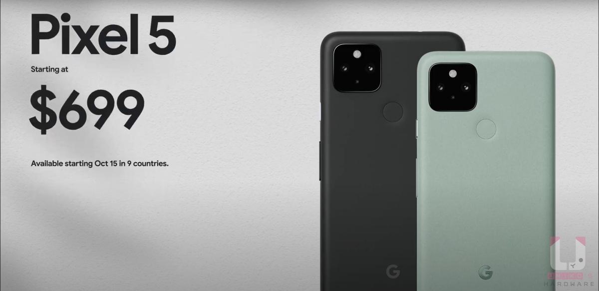 Pixel 5 US$699、NT$18,990。台灣是預計 10 月 20 日到貨。