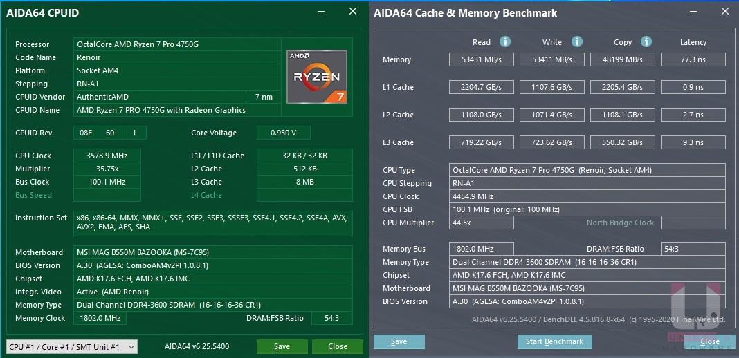 AIDA64 CPU & 記憶體數據。R7 Pro 4750G AIDA64 記憶體和處理器快取跑分。