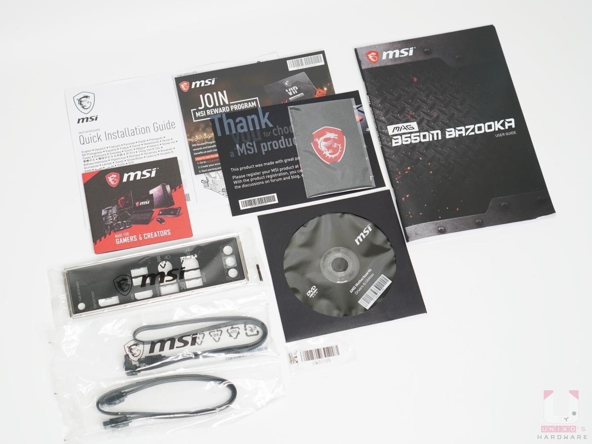 配件:說明書、文件、I/O 擋板、驅動光碟、SATA 排線。