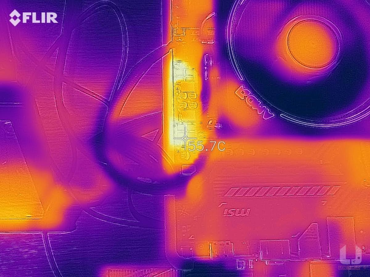3DMARK Time Spy 穩定性燒機,燒機 60+ 分鐘測試,SOC VRM 散熱器區域溫度約 55.7 度。