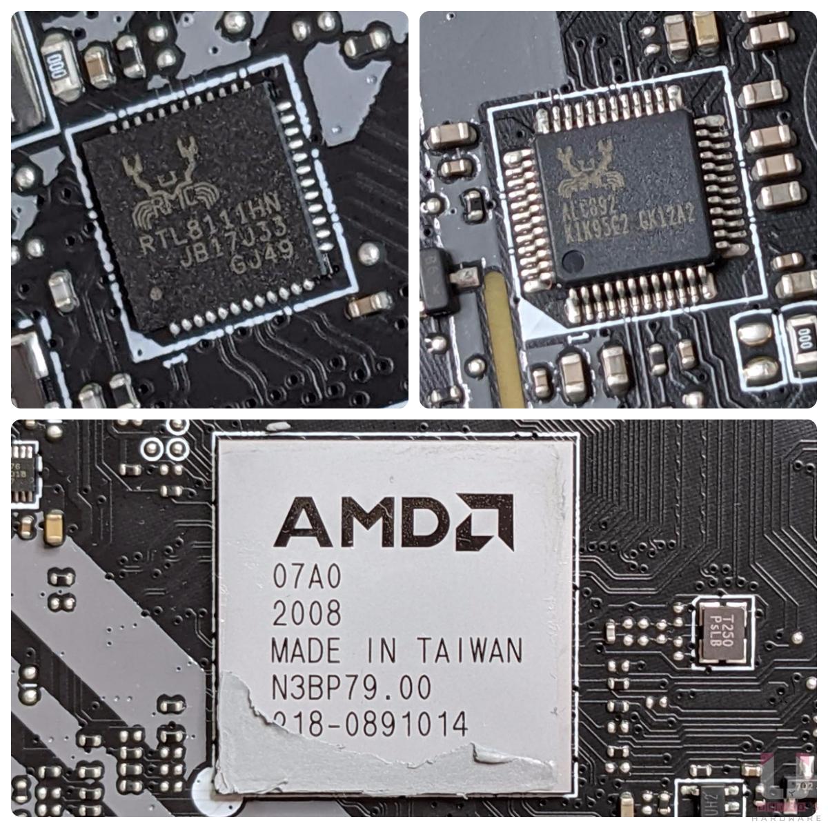 Realtek RTL8111HN 1Gbps 網路控制器、Realtek ALC892 解碼晶片,AMD B550 晶片組。