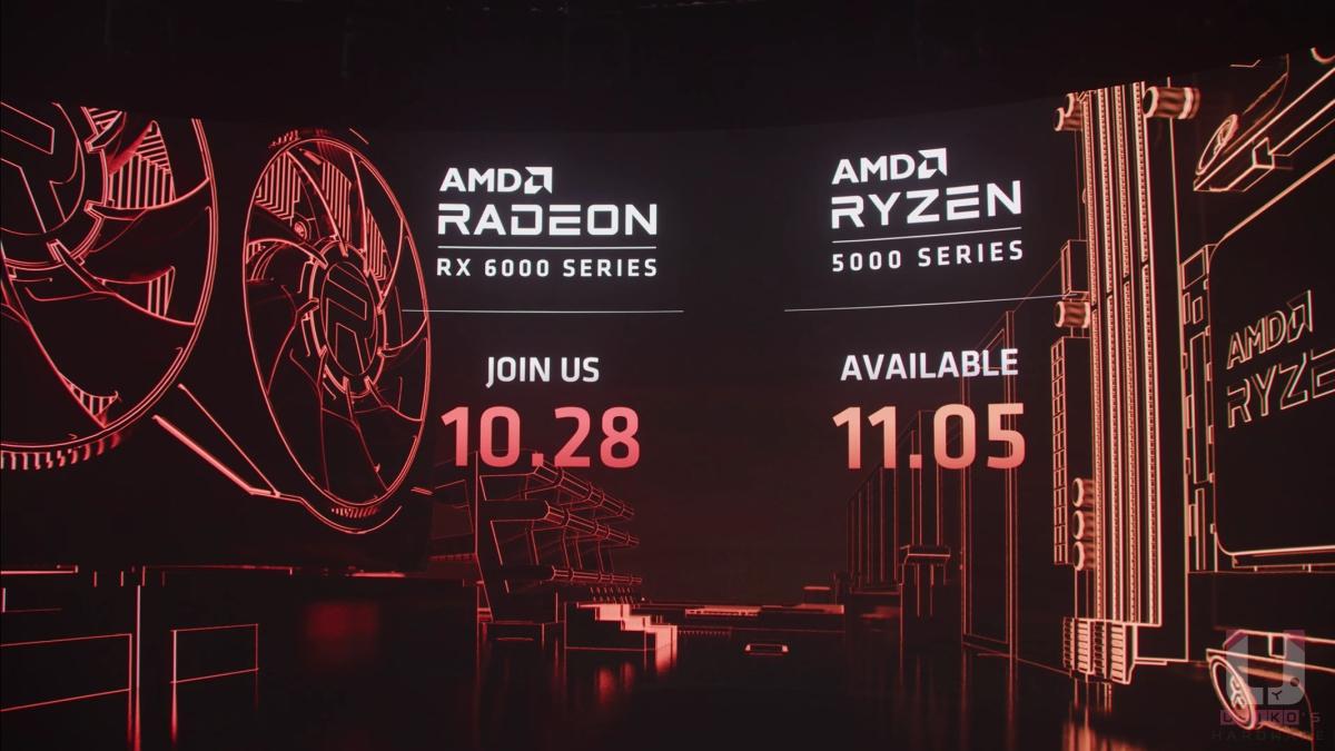 Radeon RX 6000 系列顯示卡將會在 10 月 28 日正式發表,Ryzen 5000 系列也將會在 11 月 5 日發售。