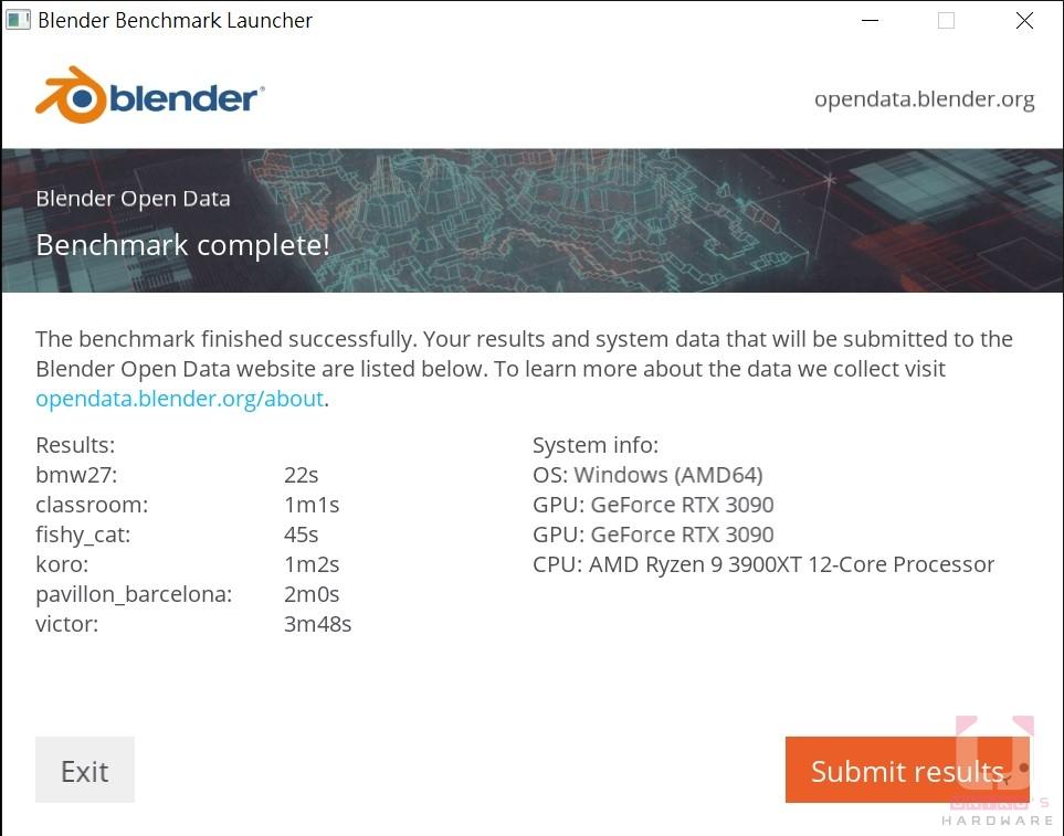 ASUS TUF RTX 3090 O24G GAMING Blender Results,秒數越低越好。