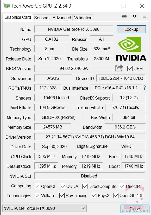 TUF RTX3090 O24G GAMING 的 GPU-Z 資料。