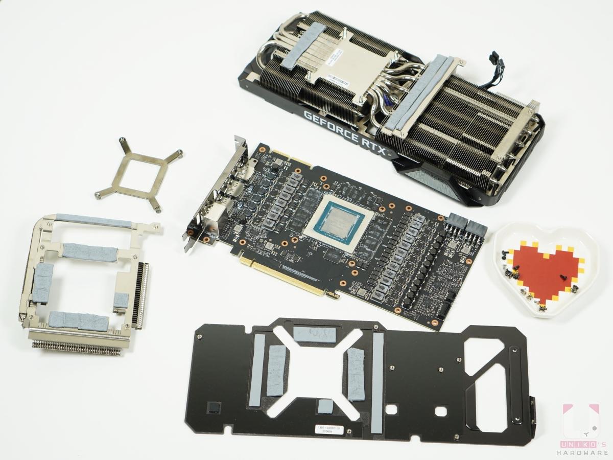 主要的散熱器和 TUF RTX 3080 相同,這些是拆開後的全部零件。