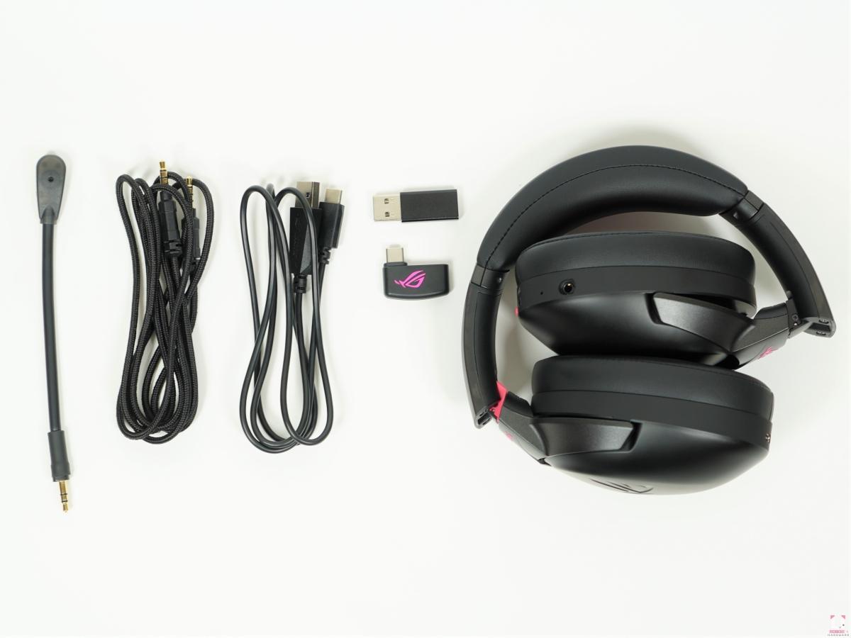 吊桿式麥克風、3.5 mm 連接線、USB-C 充電線、Type-C 轉 Type-A USB、USB-C 接收器、耳機本體。
