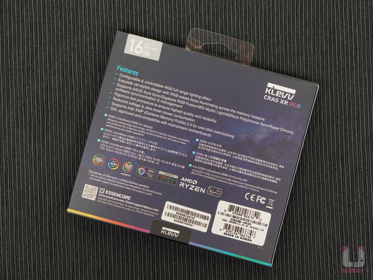 KLEVV CRAS XR RGB 支援多家 RGB 燈光控制系統,同時支援 AMD 和 Intel 處理器 。