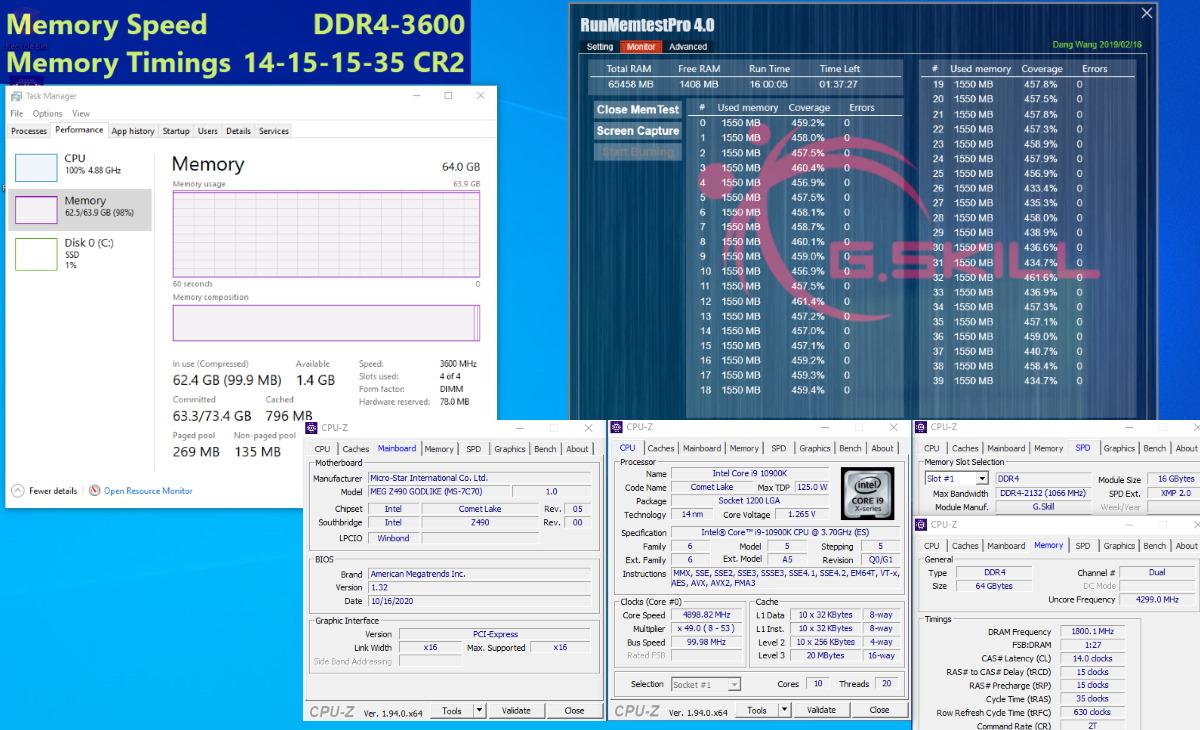 通過 MSI MEG Z490 GODLIKE 燒機測試截圖。